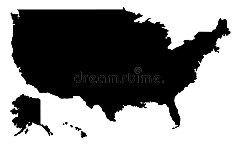 De kaartsilhouet van de Verenigde Staten van Amerika Kaart van Amerika vectoril vector illustratie