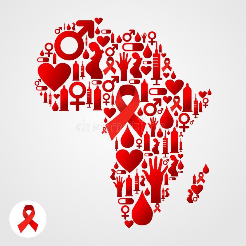 De kaartsymbool van Afrika met de pictogrammen van AIDS stock illustratie