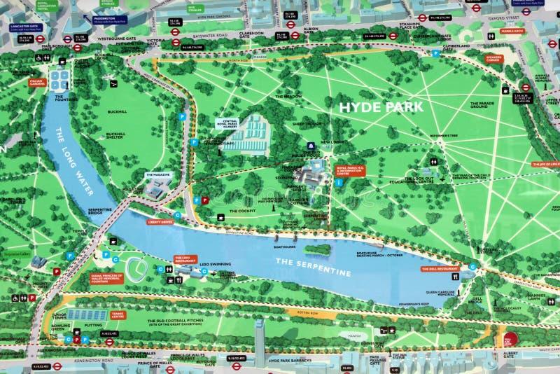 De kaartteken van het Park van Hyde stock foto's