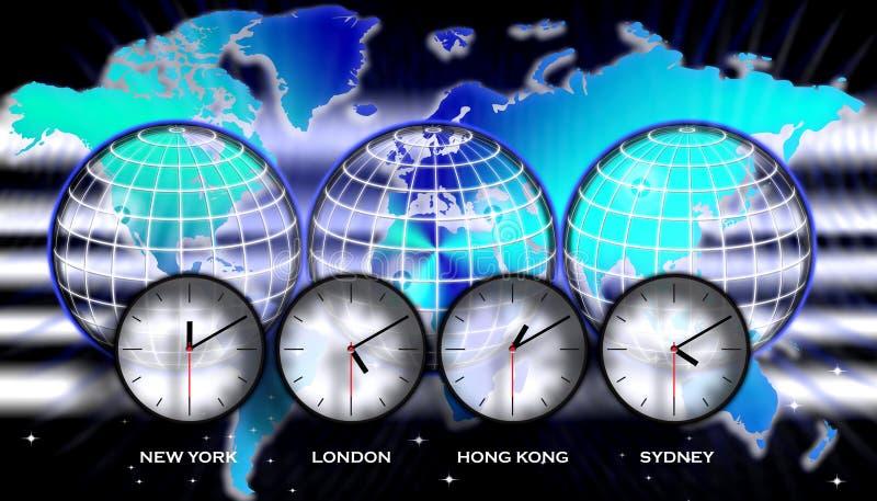 De kaarttijdzones van de wereld royalty-vrije illustratie