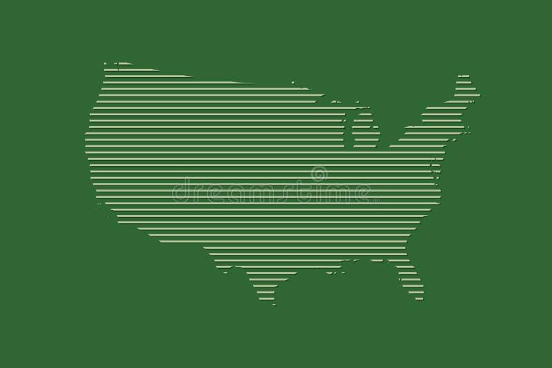 De kaartvector die van Verenigde Staten groene rechte lijnen op donkere achtergrond gebruiken vector illustratie