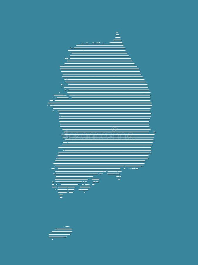 De kaartvector die van Zuid-Korea witte rechte lijnen op blauwe achtergrond gebruiken vector illustratie
