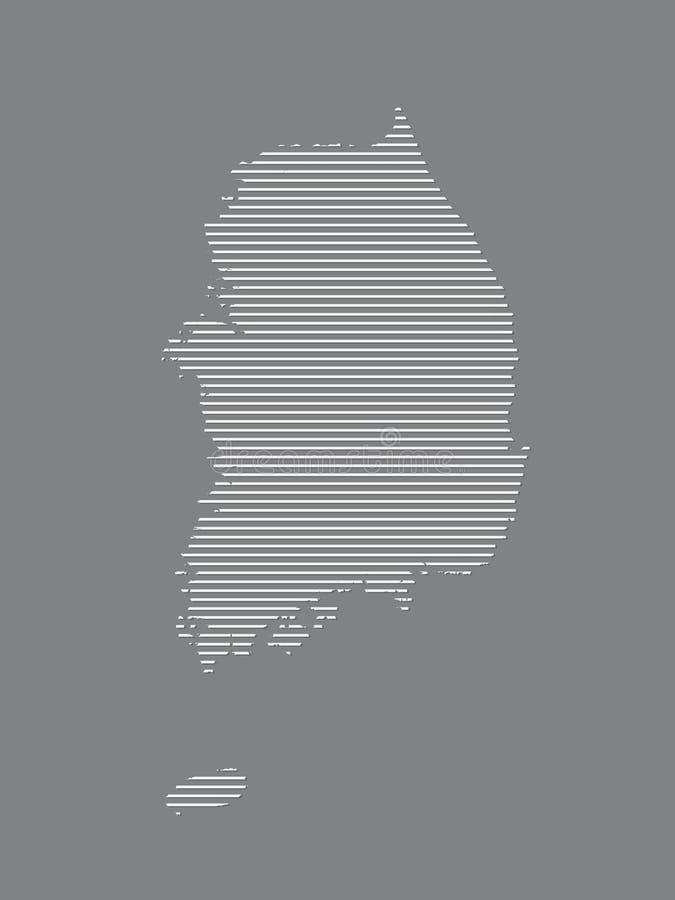 De kaartvector die van Zuid-Korea witte rechte lijnen op zwarte achtergrond gebruiken vector illustratie
