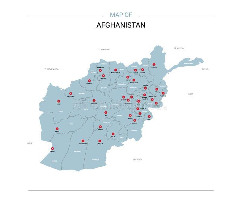 De kaartvector van Afghanistan met rode speld vector illustratie