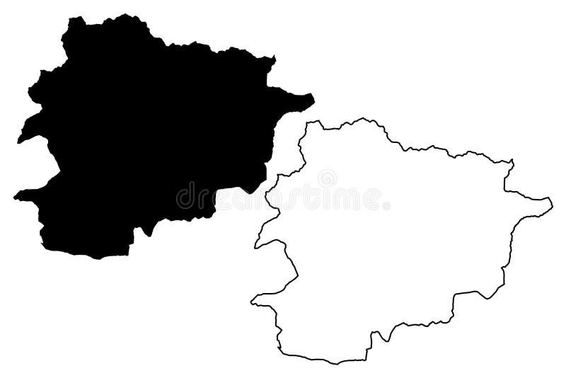 De kaartvector van Andorra royalty-vrije illustratie