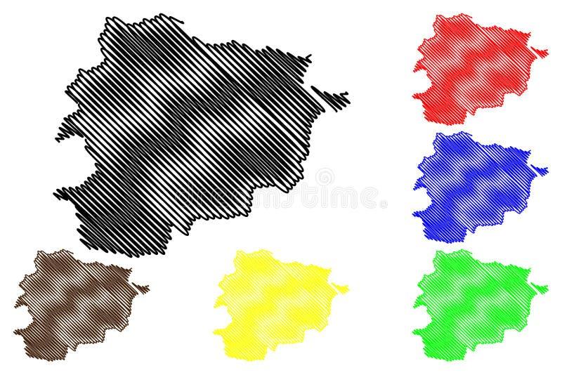 De kaartvector van Andorra vector illustratie