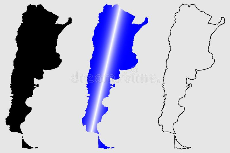 De kaartvector van Argentinië vector illustratie