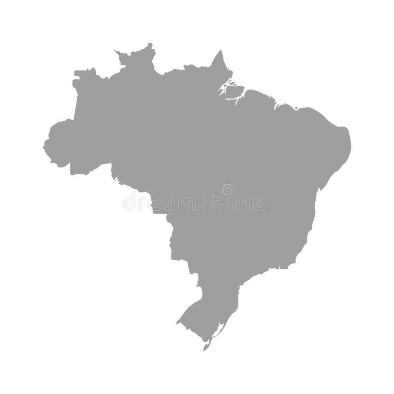 De kaartvector van Brazilië / De kaart van Brazilië royalty-vrije illustratie