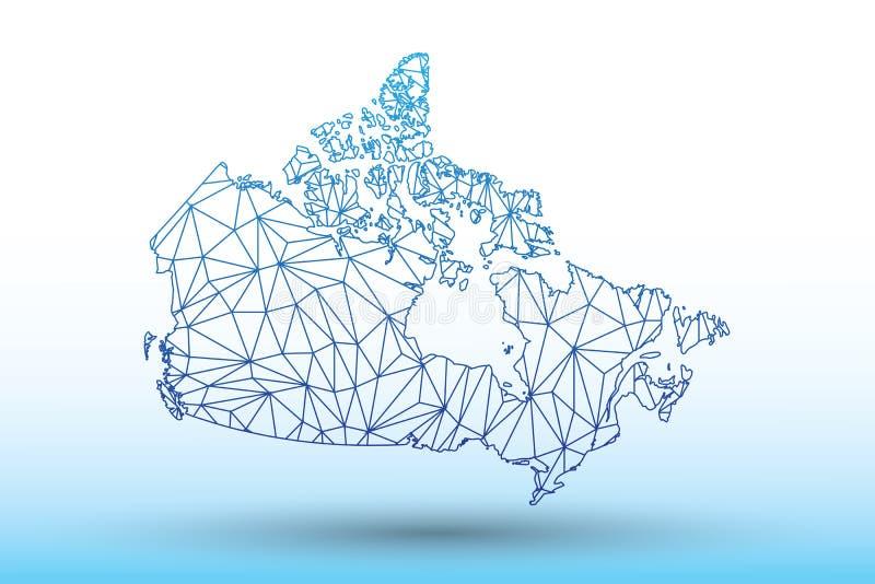 De kaartvector van Canada van blauwe kleuren geometrische verbonden lijnen die driehoeken op lichte illustratie gebruiken die als royalty-vrije illustratie