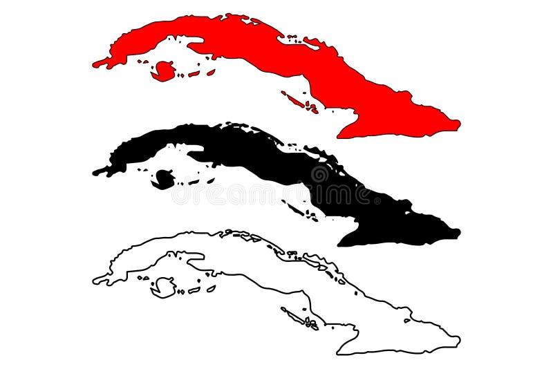 De kaartvector van Cuba stock illustratie