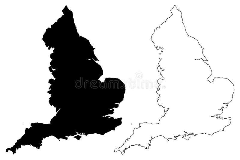 De kaartvector van Engeland vector illustratie