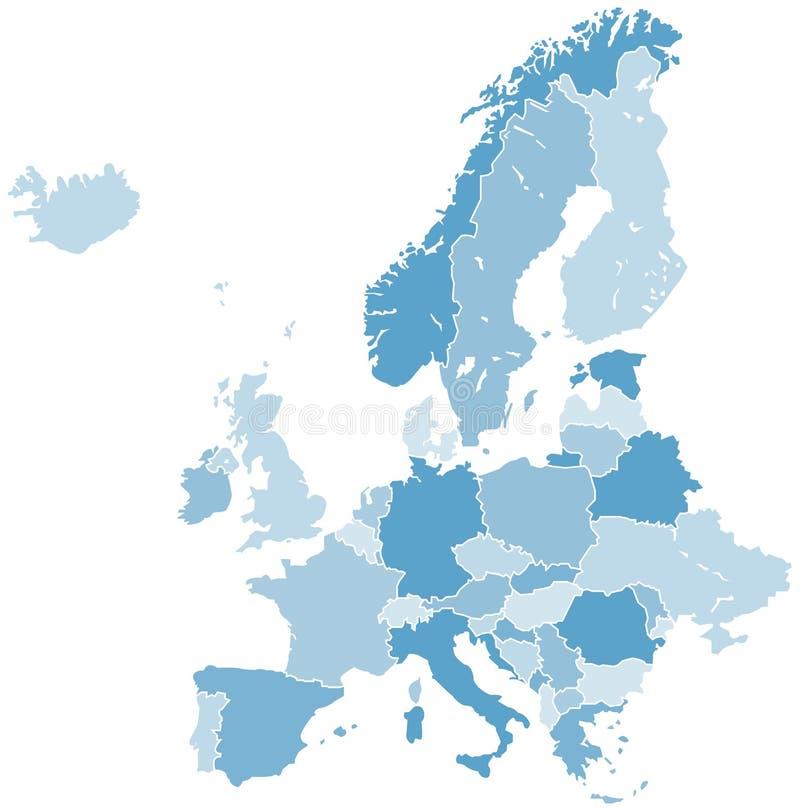 DE KAARTvector VAN EUROPA vector illustratie