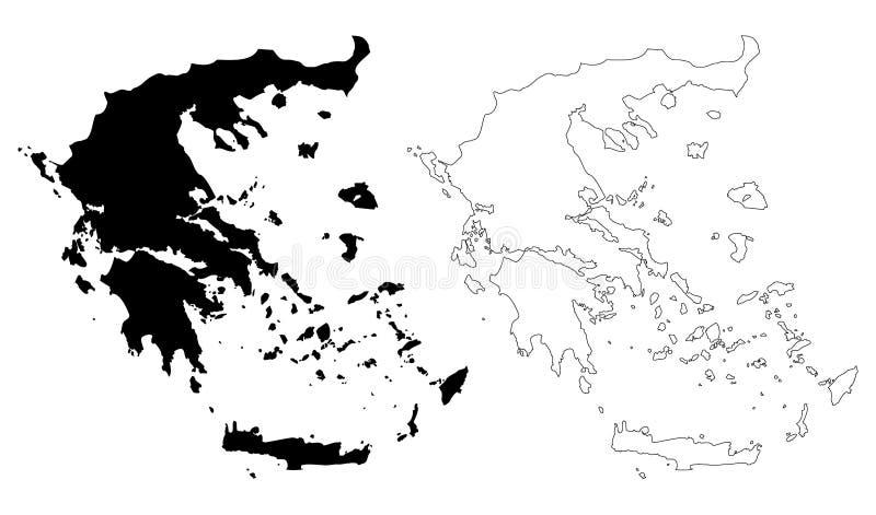 De kaartvector van Griekenland stock illustratie
