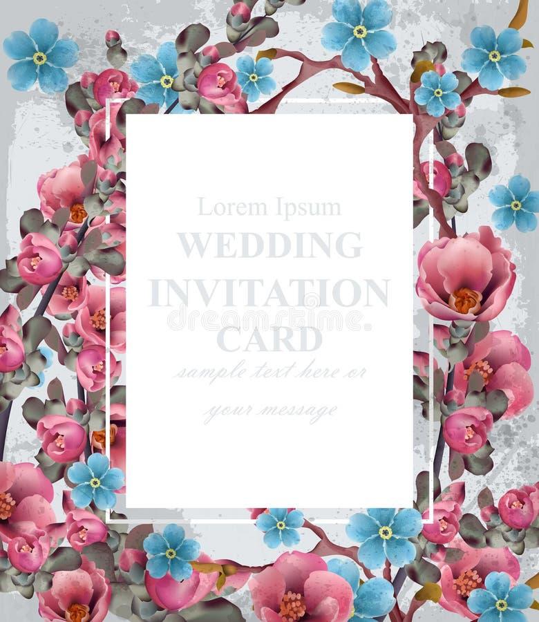 De Kaartvector van de huwelijksuitnodiging Blauwe en roze de lentebloemen Mooie verticale bloemenkader 3d achtergronden royalty-vrije illustratie