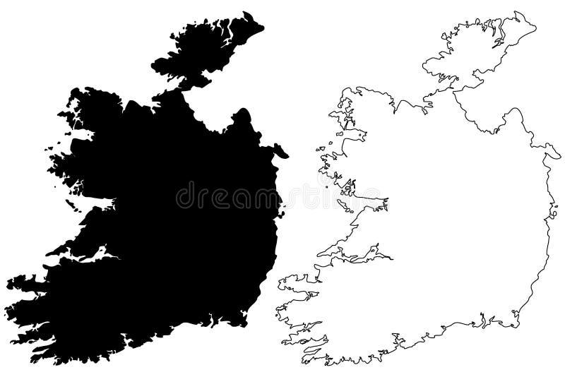 De kaartvector van Ierland vector illustratie