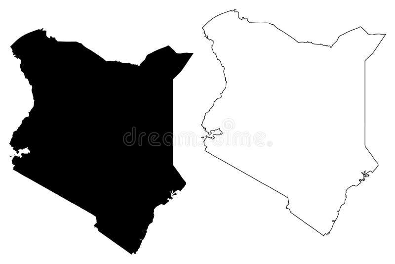 De kaartvector van Kenia vector illustratie