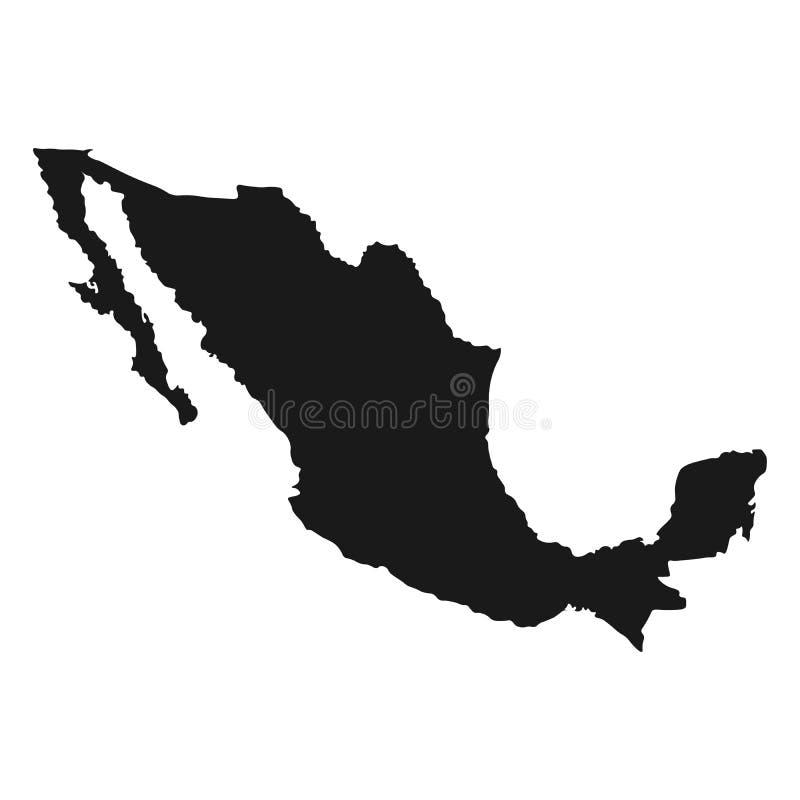 De kaartVector van Mexico witte geïsoleerde illustratie als achtergrond stock illustratie