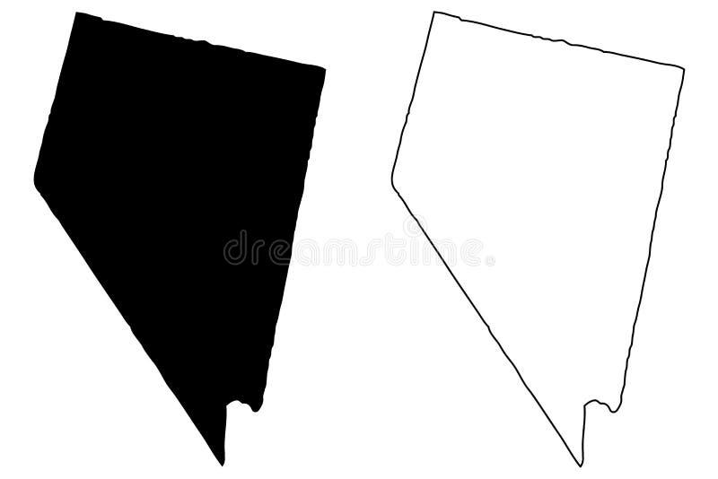 De kaartvector van Nevada vector illustratie