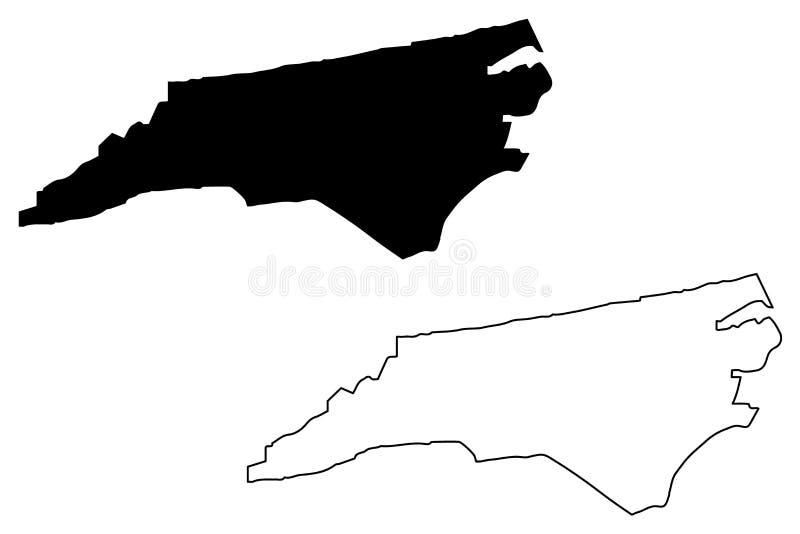 De kaartvector van Noord-Carolina vector illustratie