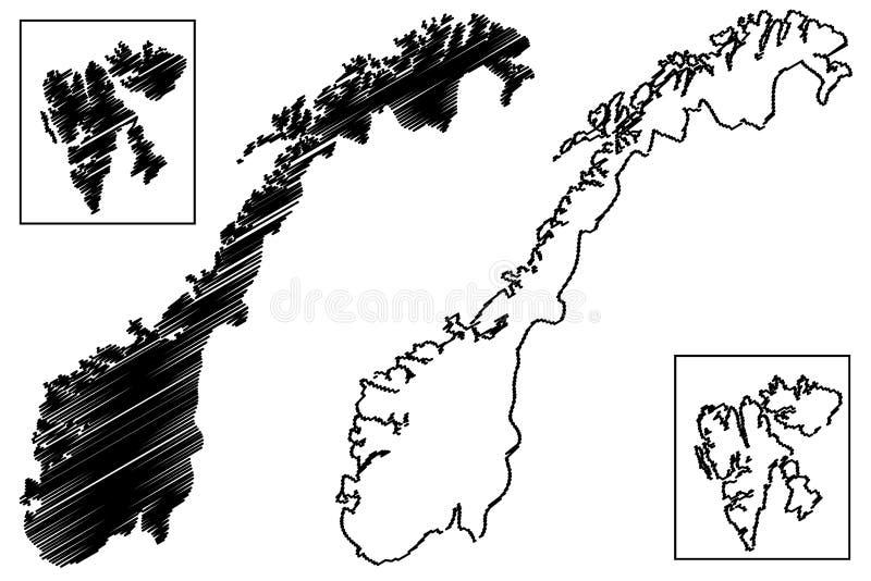 De kaartvector van Noorwegen royalty-vrije illustratie