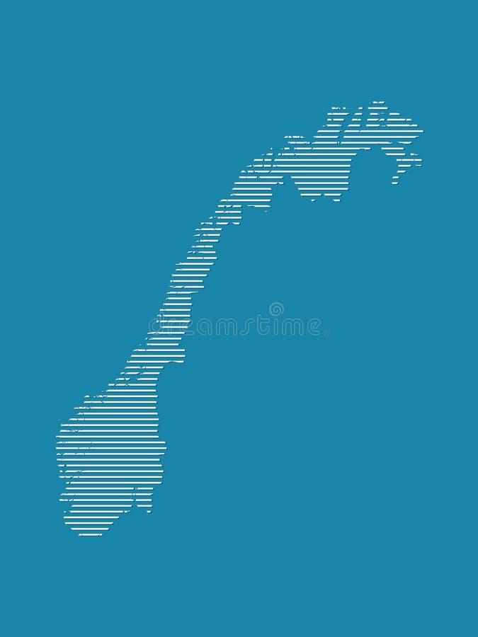 De kaartvector van Noorwegen met eenvoudige rechte lijnen op blauwe achtergrond vector illustratie