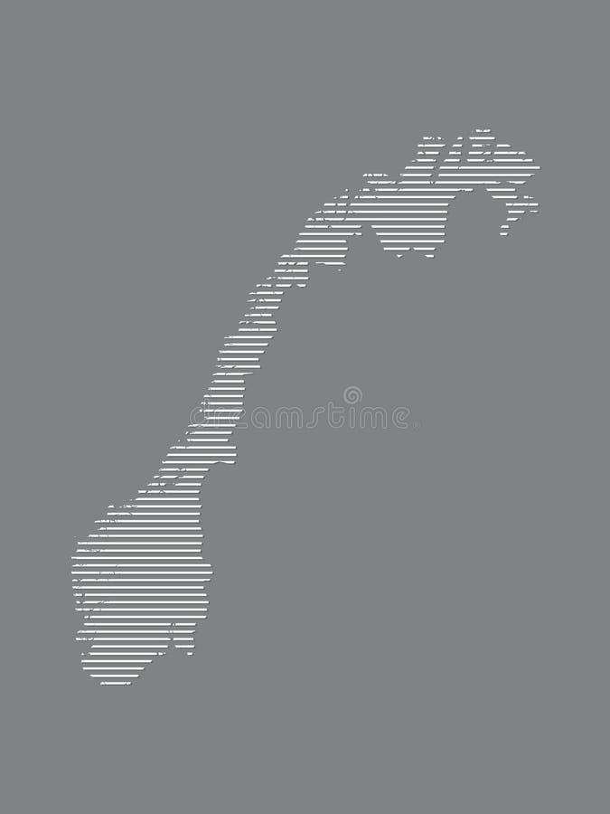 De kaartvector van Noorwegen met eenvoudige rechte lijnen op zwarte achtergrond royalty-vrije illustratie