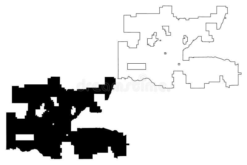 De kaartvector van Oklahoma City royalty-vrije illustratie