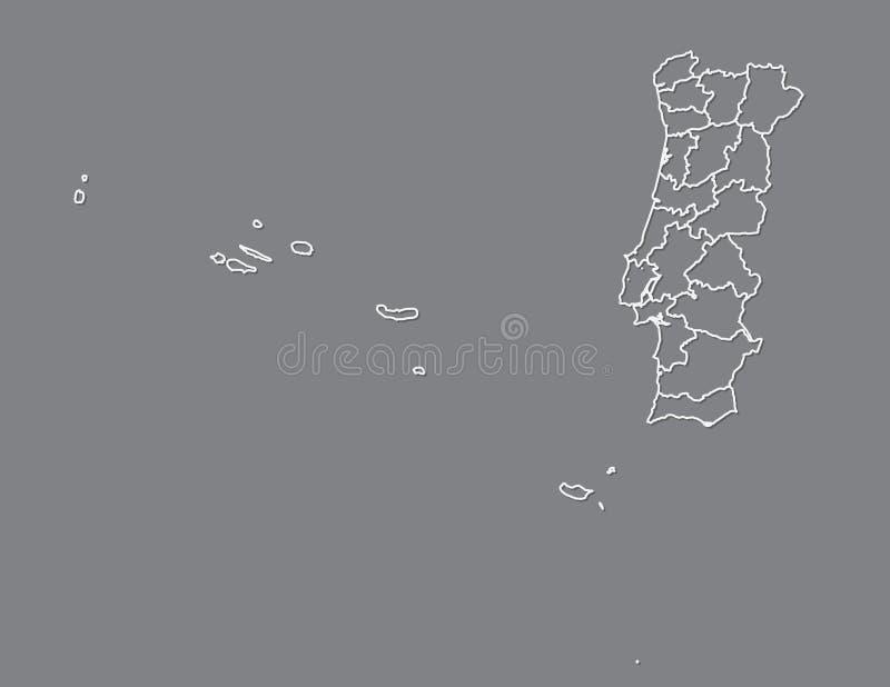 De kaartvector van Portugal met administratieve afdelingen of districten die witte grenzen op donkere illustratie gebruiken als a royalty-vrije illustratie
