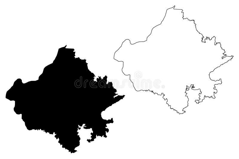 De kaartvector van Rajasthan vector illustratie