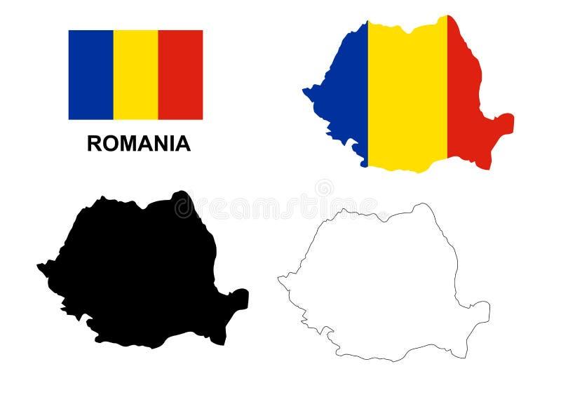 De kaartvector van Roemenië, de vlag van Roemenië vector, geïsoleerd Roemenië