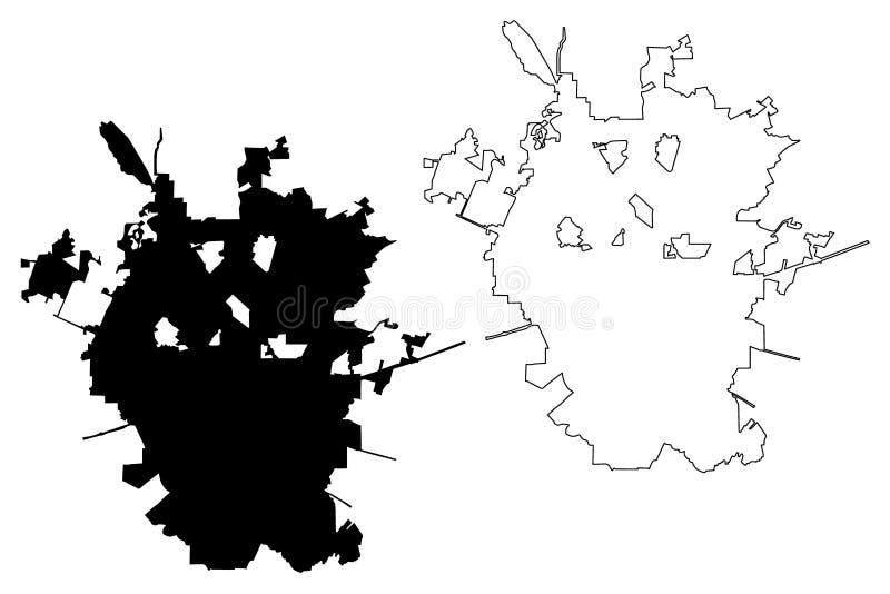 De kaartvector van San Antonio City vector illustratie
