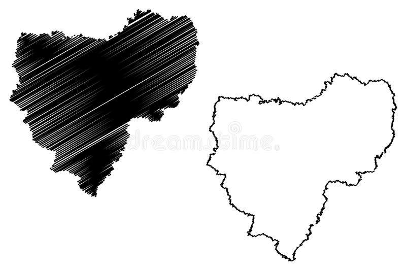 De kaartvector van Smolensk Oblast stock illustratie