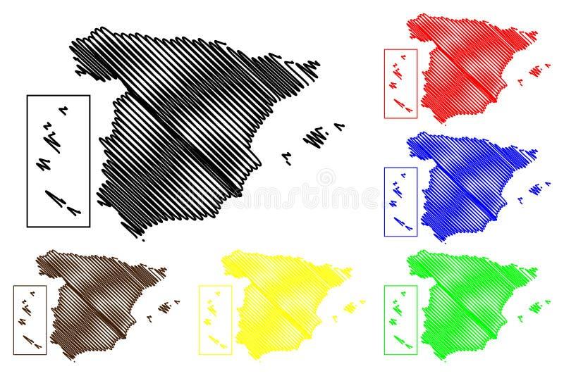 De kaartvector van Spanje stock illustratie