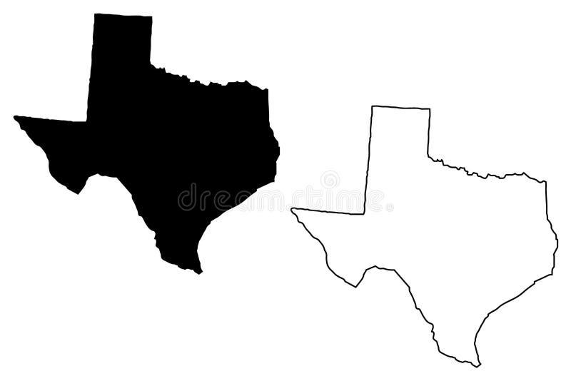 De kaartvector van Texas royalty-vrije illustratie