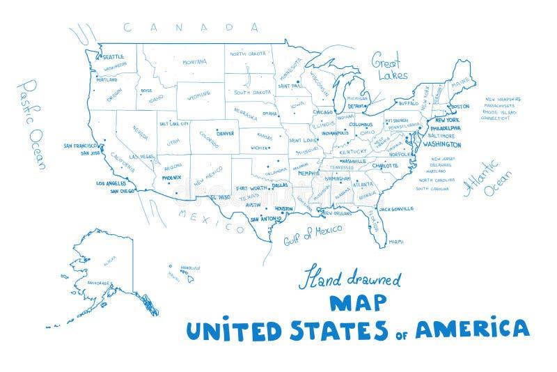 De kaartvector van de V.S. De hand drawned vectorillustratie van de kaart van de Verenigde Staten van Amerika vector illustratie
