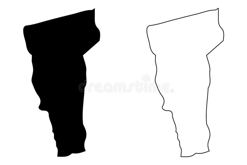 De kaartvector van Vermont royalty-vrije illustratie