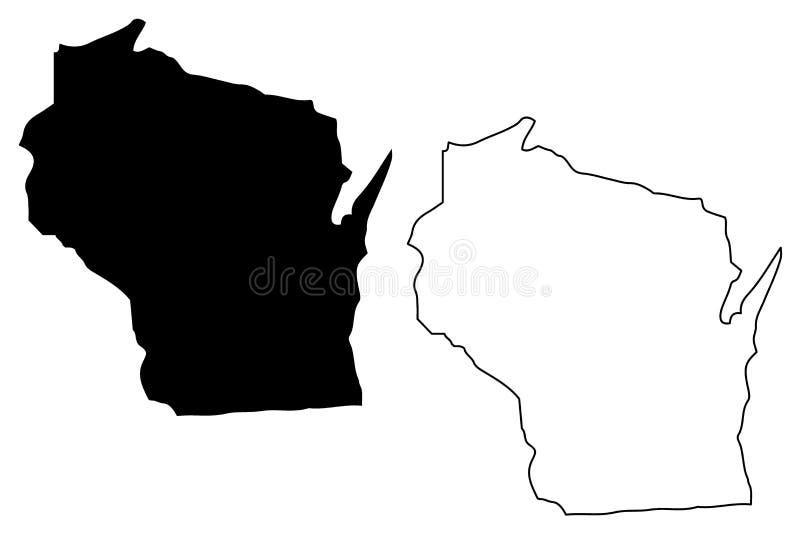 De kaartvector van Wisconsin vector illustratie