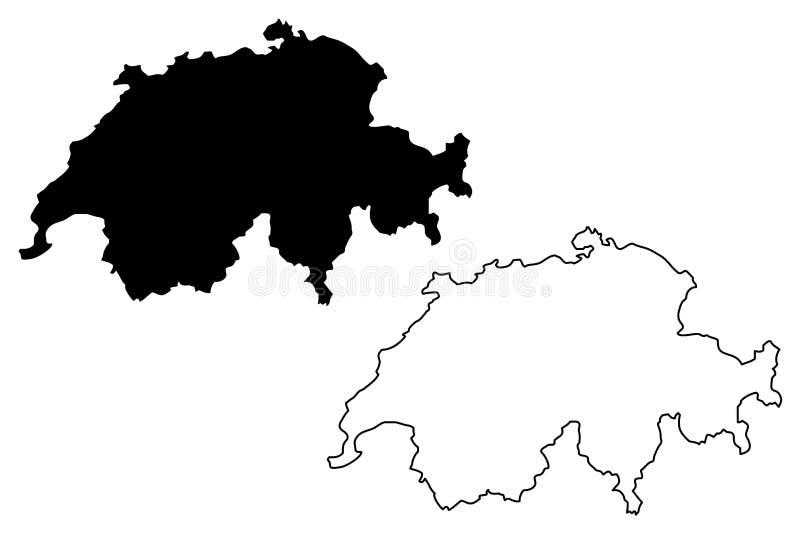 De kaartvector van Zwitserland royalty-vrije illustratie
