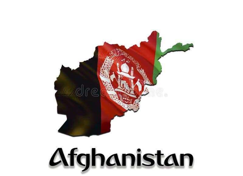De Kaartvlag van Afghanistan 3D het teruggeven Afghanistan kaart en vlag op Midden-Oostenkaart Het nationale symbool van Afghanis royalty-vrije stock afbeelding