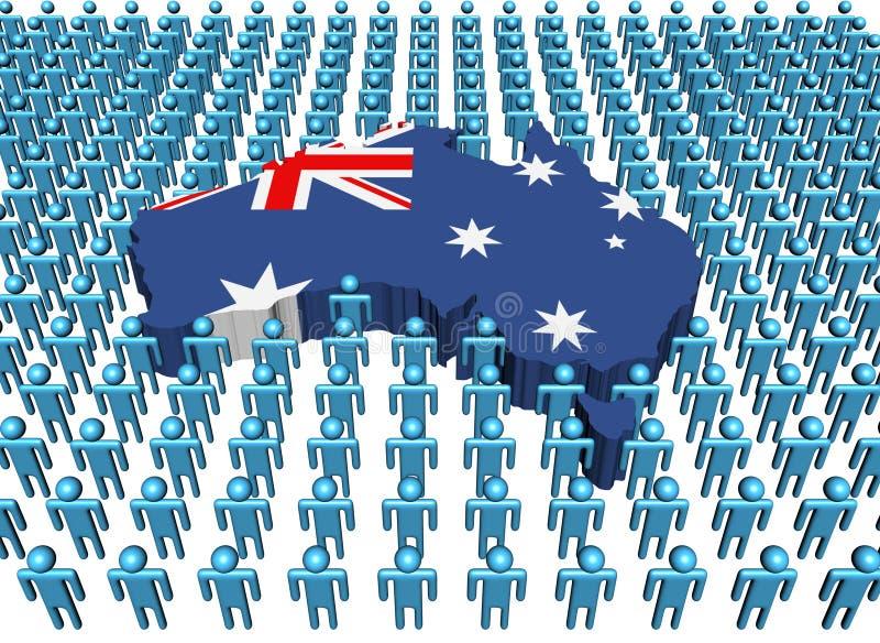 De kaartvlag van Australië met mensen stock illustratie