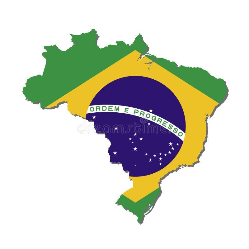 De Kaartvlag van Brazilië, de Kaart van Brazilië met Vlagvector vector illustratie
