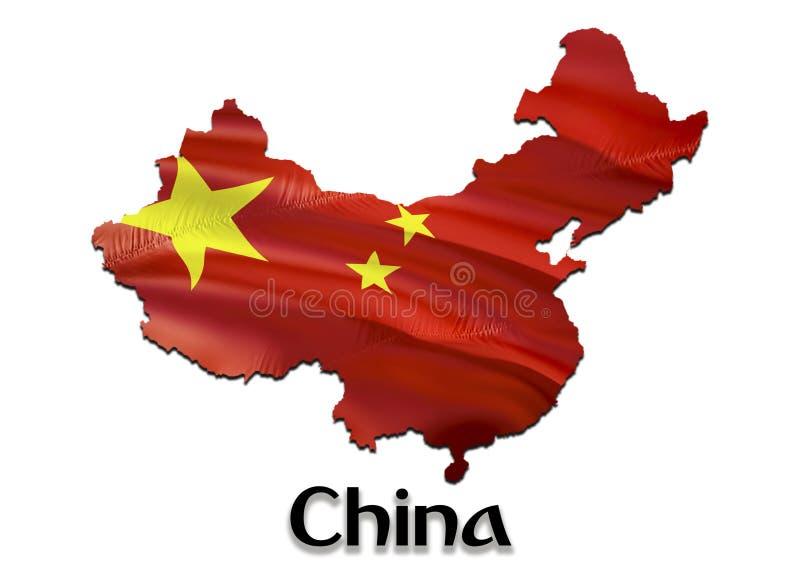 De kaartvlag van China 3D het teruggeven China kaart en vlag op de kaart van Azië Het nationale symbool van China Beijing vlag stock foto's