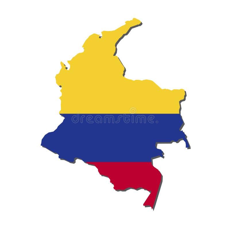 De Kaartvlag van Colombia, de Kaart van Colombia met Vlagvector royalty-vrije illustratie