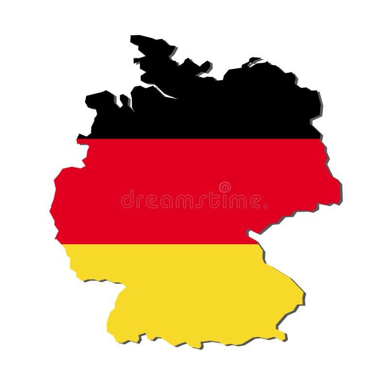De Kaartvlag van Duitsland, de Kaart van Duitsland met Vlagvector stock illustratie