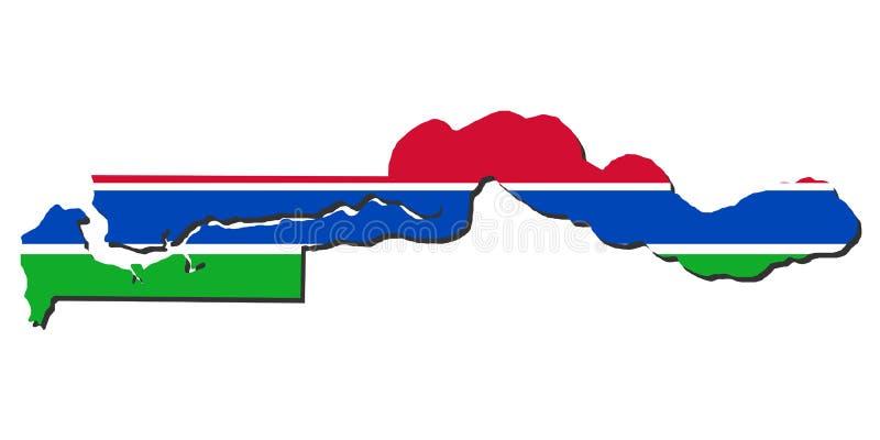 De kaartvlag van Gambia vector illustratie