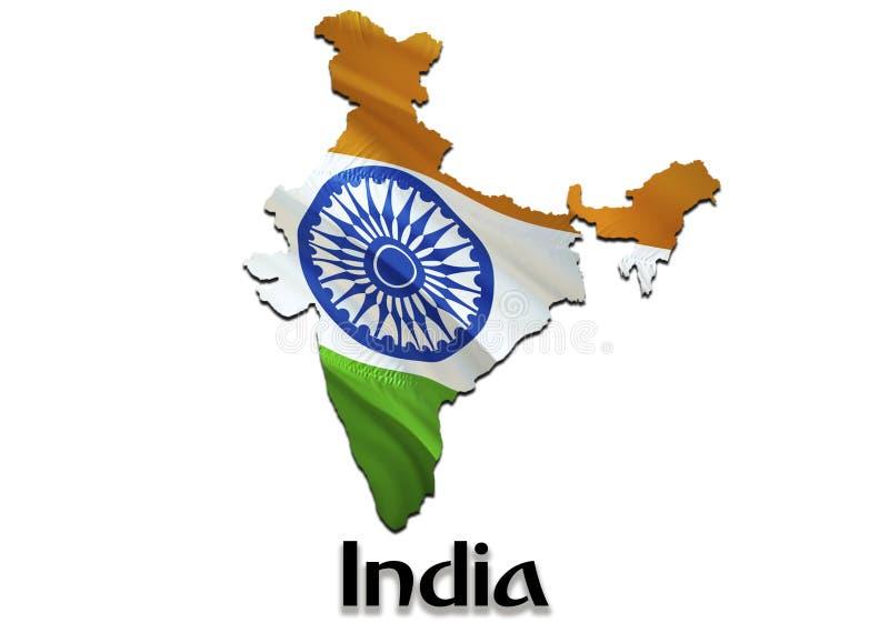 DE KAARTvlag VAN INDIA 3D het teruggeven India kaart en vlag op de kaart van Azië Het nationale symbool van India De vlag van New royalty-vrije illustratie