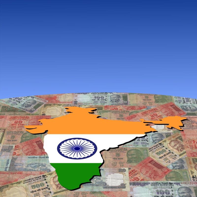 De kaartvlag van India op Roepies stock illustratie