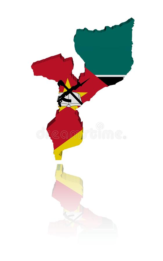 De Kaartvlag Van Mozambique Met Bezinning Royalty-vrije Stock Fotografie