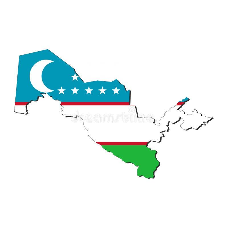 De kaartvlag van Oezbekistan vector illustratie