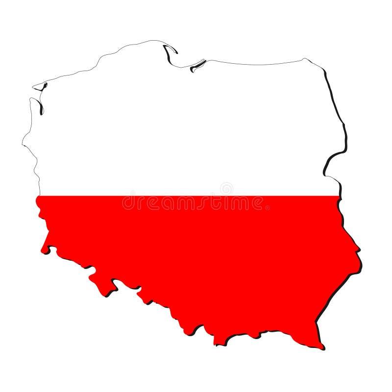 De kaartvlag van Polen stock illustratie